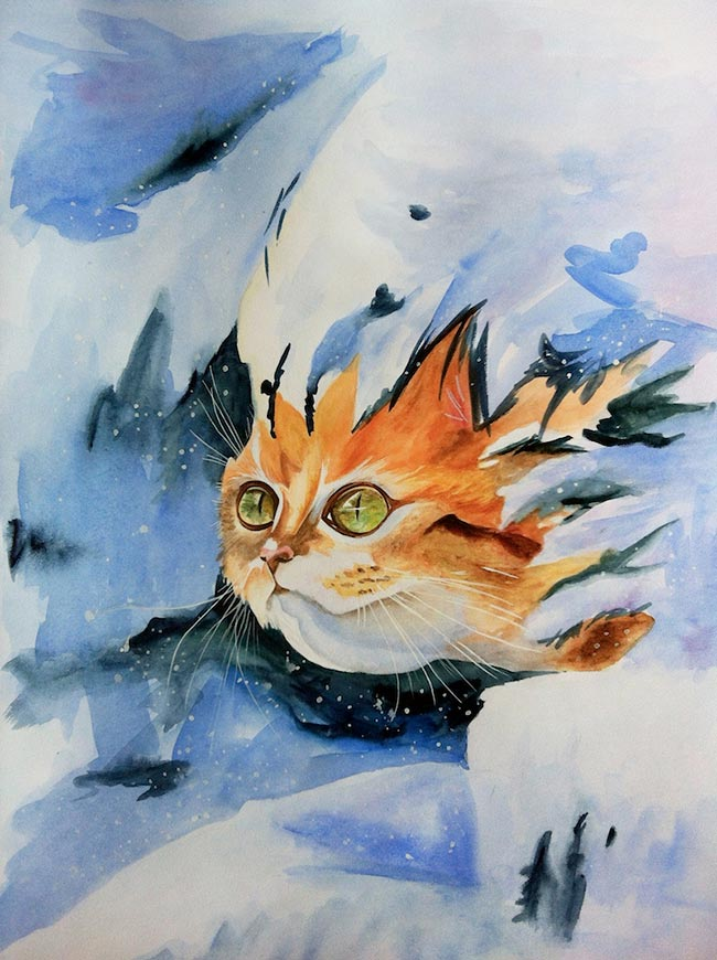 рыжий-кот-картина-акварелью